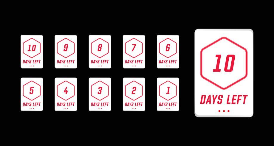 I giorni di numero hanno lasciato il conto alla rovescia nel vettore di progettazione di carta moderno semplice
