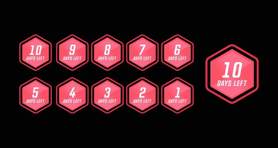 Number days left countdown in pink hexagon modern technology style simple design