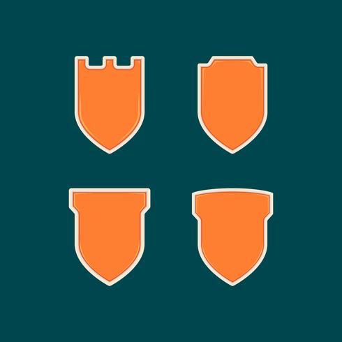 Blank unique orange shield badge shape template set collection