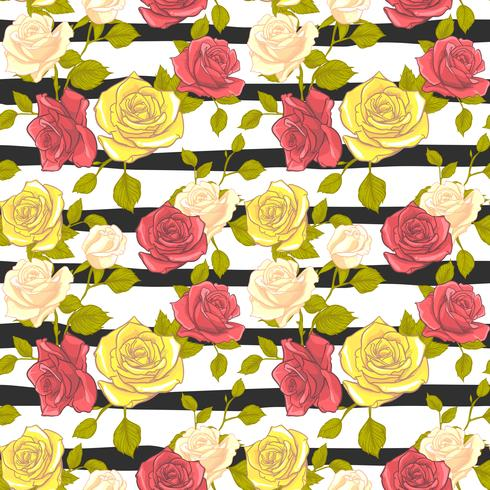 flor rosa de patrones sin fisuras, vector floral rosa de patrones sin fisuras, fondo de flor
