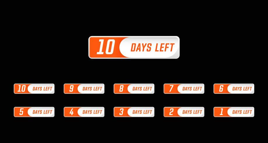 I giorni numerici in stile semplice del design moderno hanno lasciato il conto alla rovescia impostato dal numero 10 all'1