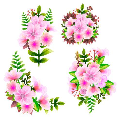 Aquarela Do Ramalhete Grupo Floral Do Vetor Da Flor Colecao