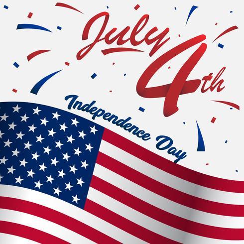 4 juillet usa joyeuse fête de l'indépendance pour son profil sur les réseaux sociaux ou son image avec un grand drapeau américain et un ruban en 3D