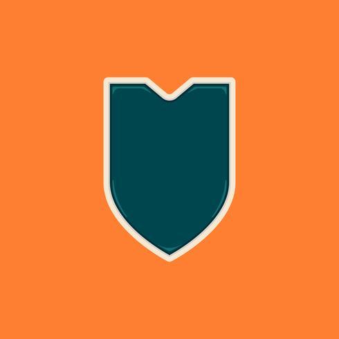 Brilhante com emblema de escudo em branco de forma v ou insígnia