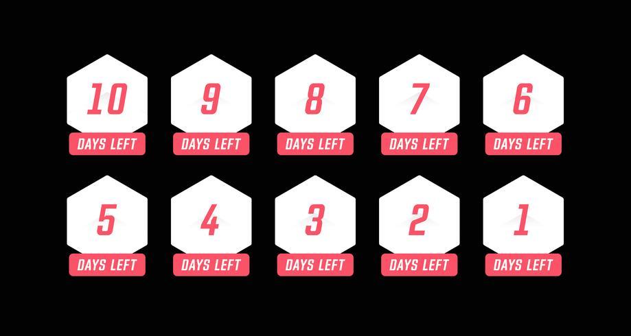 Eenvoudig hexagon aantal dagen links aftellen