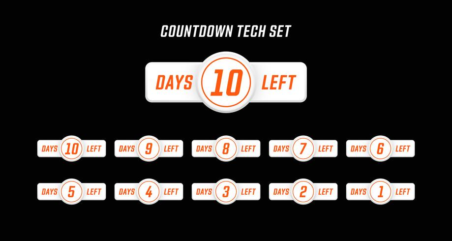 Simple Modern computer design style number days left countdown set