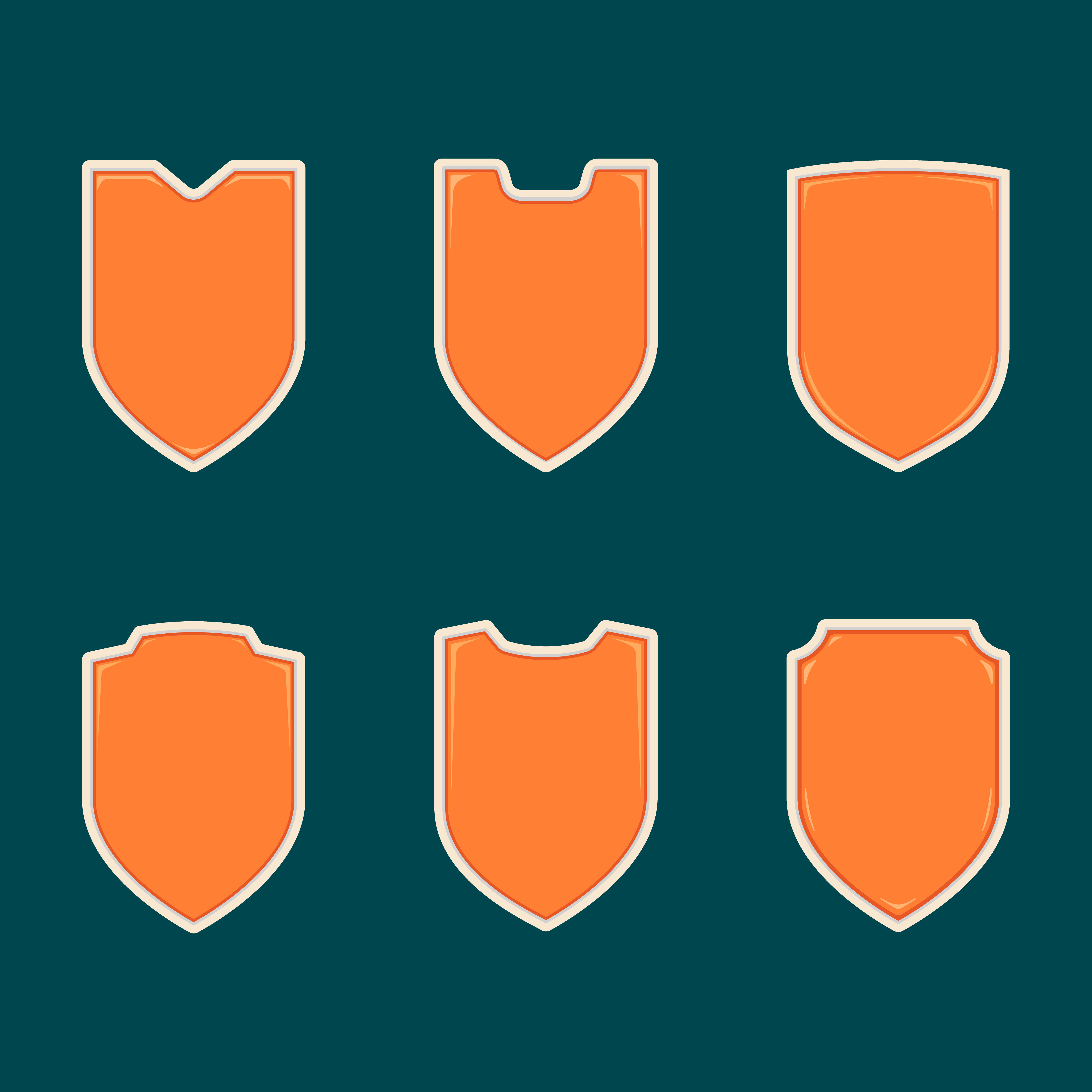 Blank Orange Shield Badge Shape Template Set Collection