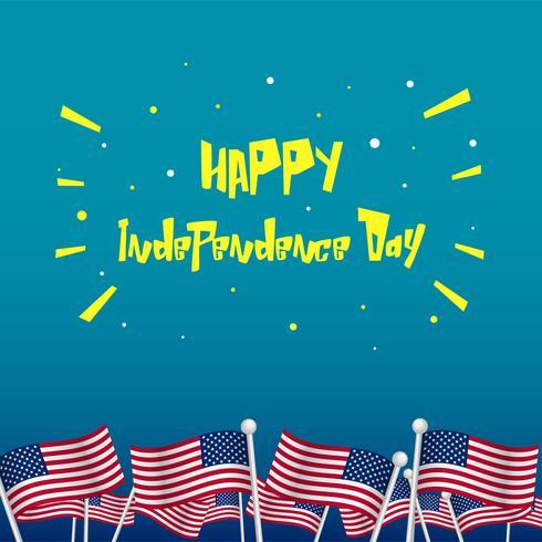 4 luglio illustrazione di saluto giorno dell'indipendenza per i social media in stile cartone animato