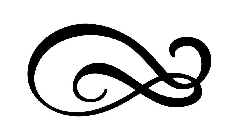 Simbolo dell'illustrazione di vettore di calligrafia di infinito Eterno emblema senza limiti. Sagoma di nastro mobius nero. Pennellata moderna. Ciclo infinito concetto di vita. Elemento di design grafico per tatuaggio di carta e logo