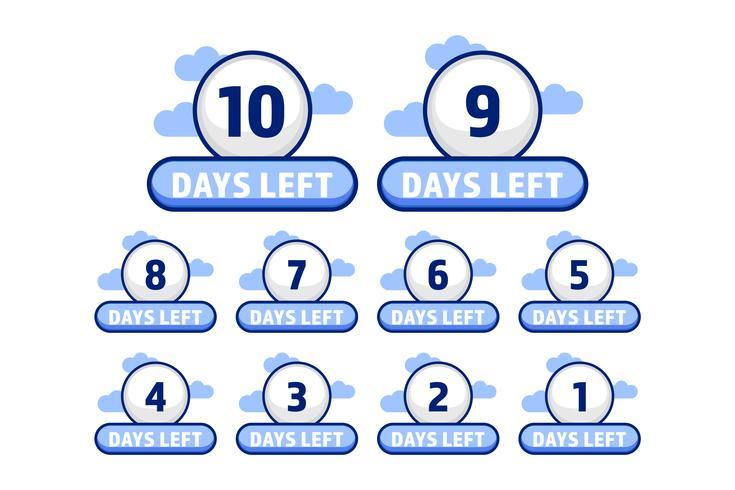 Le nombre de jours de boule blanche est parti de 10 à 1 set en style cartoon
