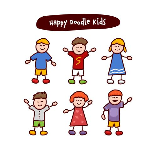 Happy doodle kids children stickman cliptart illustration set