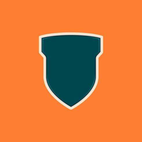 La tecnología moderna en blanco brillante escudo o forma de insignia como