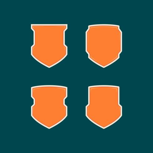 Blank modern futuristic orange shield badge shape template set collection
