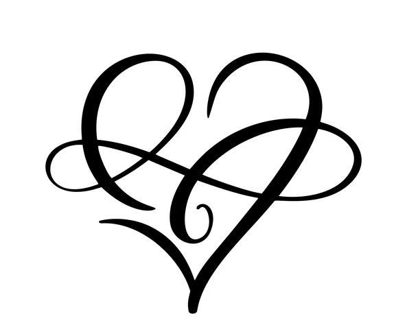Herzliebeszeichen für immer Logo. Unendlichkeit Romantisches Symbol verbunden, verbinden, Leidenschaft und Hochzeit. Vorlage für T-Shirt, Karte, Poster. Flaches Element des Designs des Valentinstags. Vektor-illustration