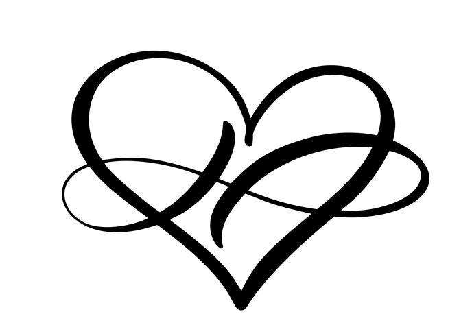 Cuore amore segno per sempre logo. Infinito simbolo romantico collegato, unire, passione e matrimonio. Modello per maglietta, carta, poster. Design piatto elemento del giorno di San Valentino. Illustrazione vettoriale