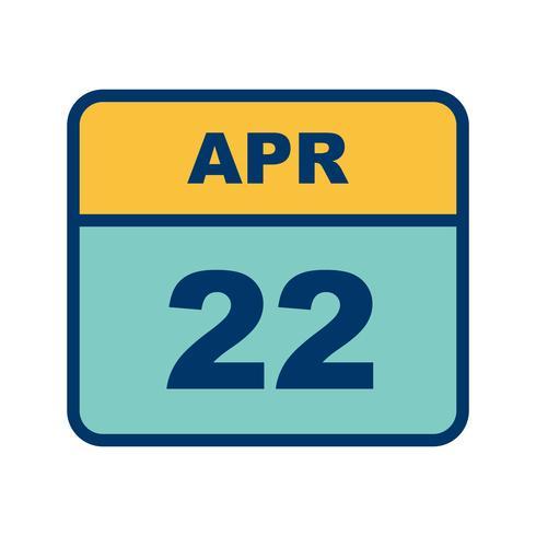 22 de abril Data em um calendário único dia