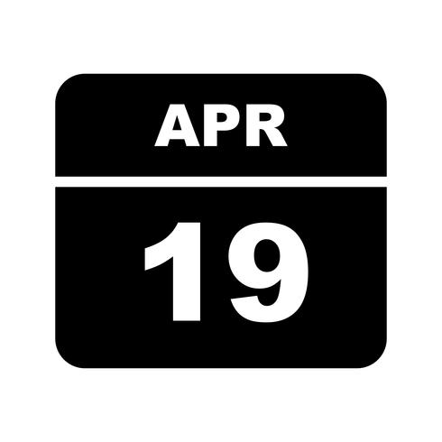 19 april Datum på en enkel dagskalender