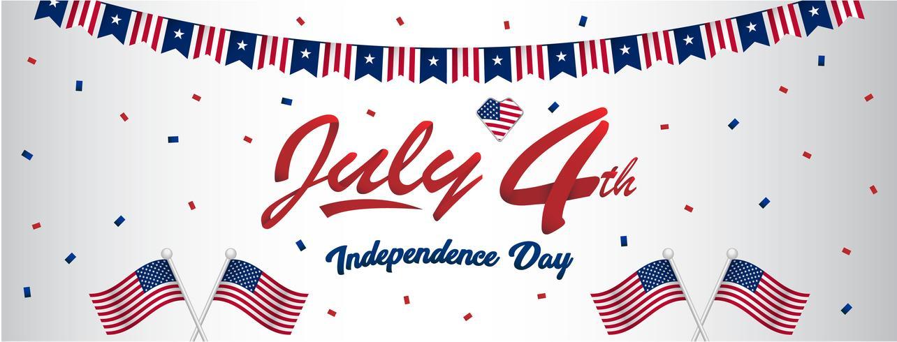 Saluto felice di indipendenza del giorno dell'indipendenza di base di RGB4 luglio per l'insegna di dimensione della parete della pagina del fan di media sociali con la bandiera americana ed il modello blu rosso