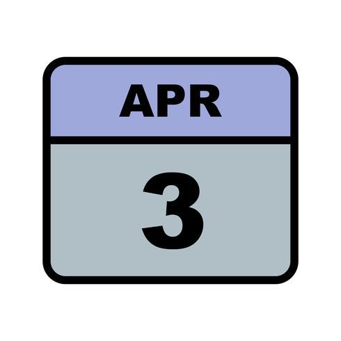 3. April Datum für einen Tagkalender