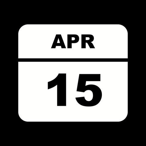 15 de abril Fecha en un calendario de un solo día vector