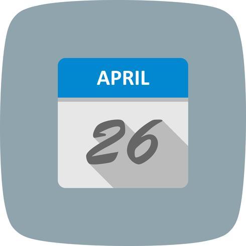 26 de abril Fecha en un calendario de un solo día