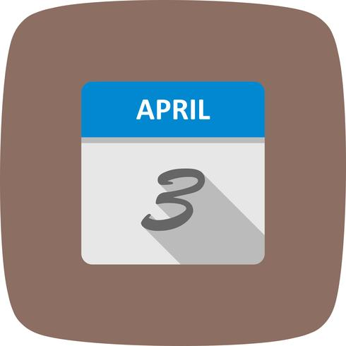 April 3rd Date on a Single Day Calendar vector