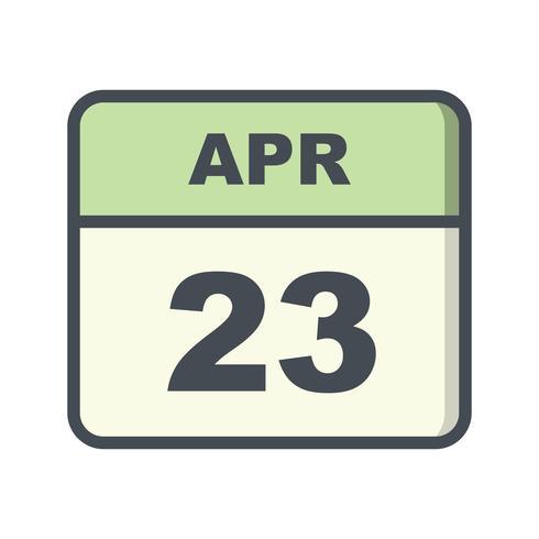 23 de abril Data em um calendário de dia único vetor