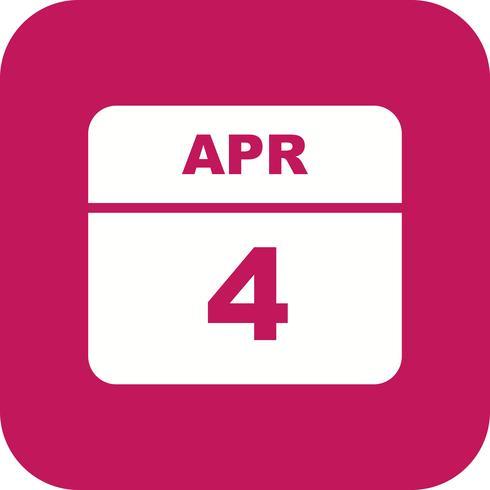 4 aprile Data su un calendario per un solo giorno