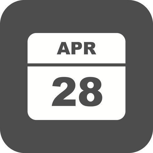 28 aprile Data su un calendario per un solo giorno