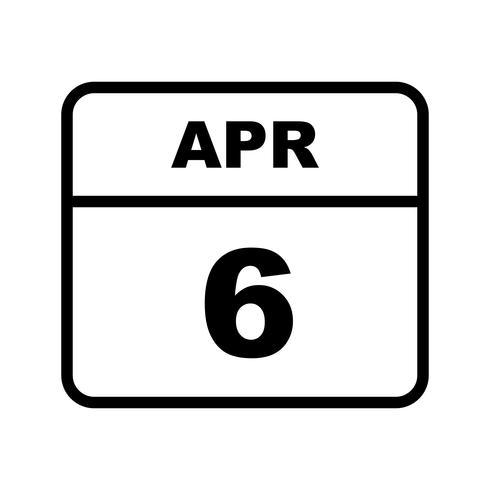 6 de abril, fecha en un calendario de un solo día