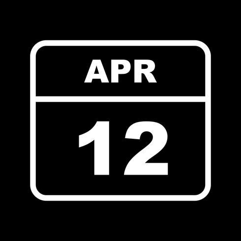 12 de abril Fecha en un calendario de un solo día vector