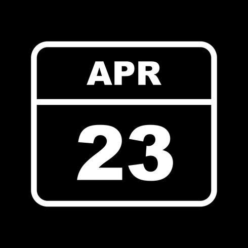 April 23rd Date on a Single Day Calendar vector