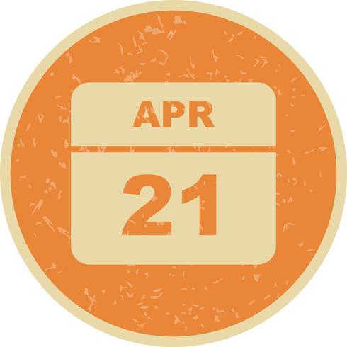 April 21st Date on a Single Day Calendar vector