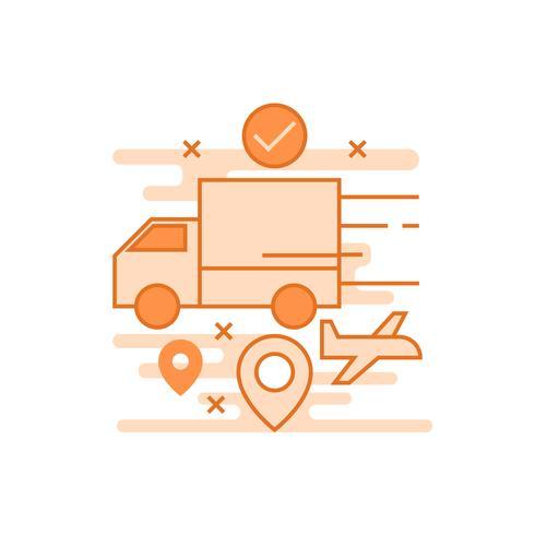 Levering illustratie. Platte lijn ontworpen concept met oranje kleuren, voor mobiele apps of andere doeleinden