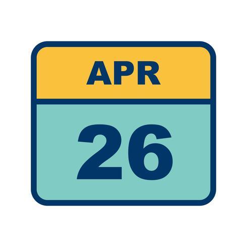 April 26th Date on a Single Day Calendar vector