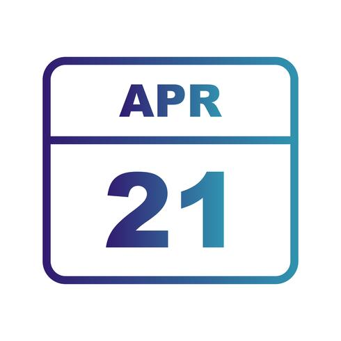 April 21st Date on a Single Day Calendar vector