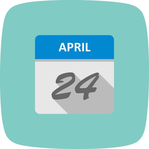 April 24th Date on a Single Day Calendar vector
