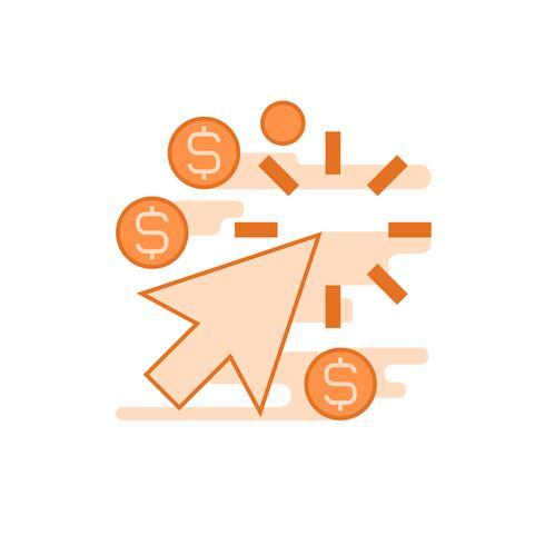 Pay-per-Click-Abbildung. Flache Linie entworfenes Konzept mit orangen Farben, für mobile Apps oder andere Zwecke