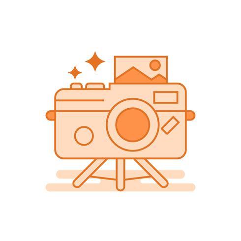 Ilustração de fotografia. Conceito de linha plana projetado com cores laranja, para aplicativos móveis ou outros fins