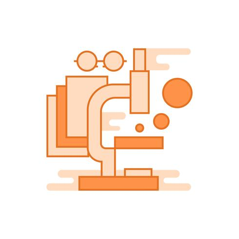 Research illustration. Flat line designed concept with orange colors, for mobile apps or other purposes