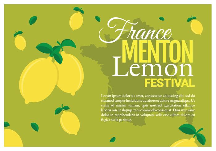 Affiche du festival du citron de Menton France vecteur