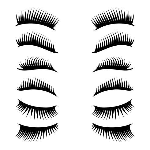 eyelashes clipart set vector
