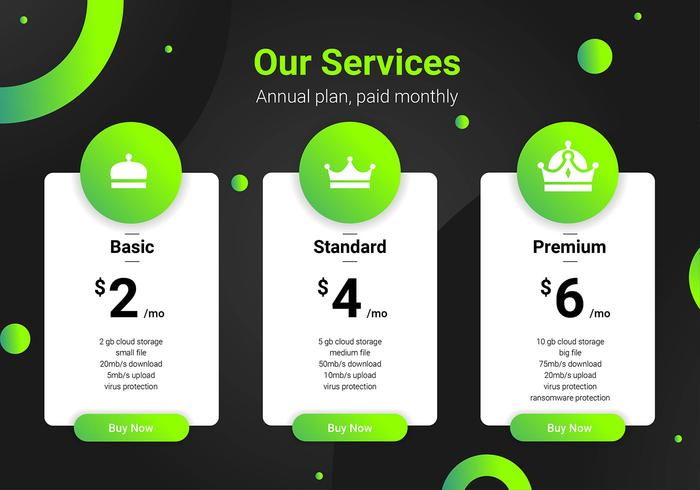 Pricing Table Green Interface Template. vector
