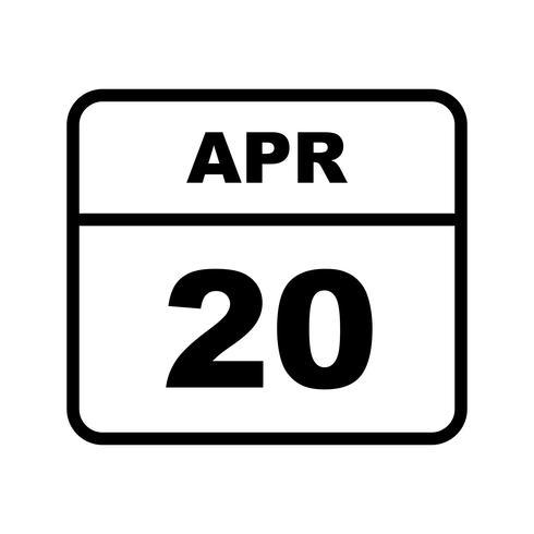 April 20th Date on a Single Day Calendar vector