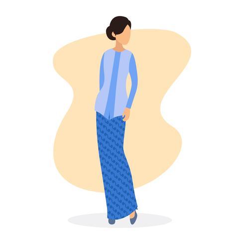 Vrouw die kebayaillustratie draagt