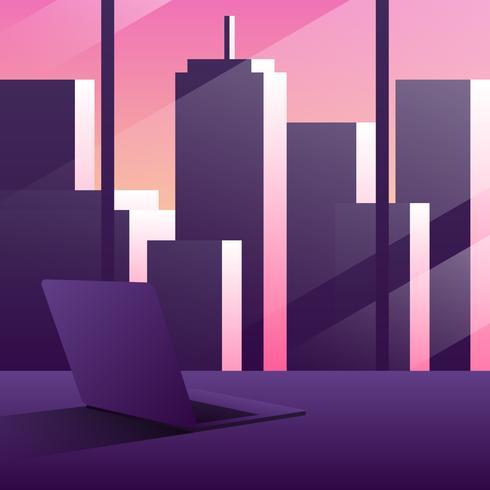 Empty Modern Office Interior Illustration vector