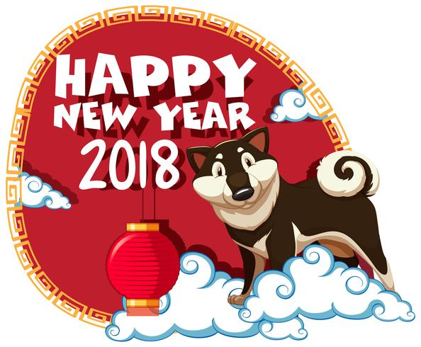 Gelukkig nieuw jaar 2018 met hond op wolken