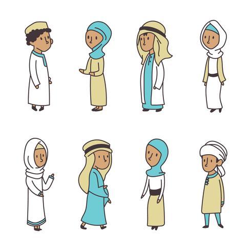 Doodled Muslim Kids vector