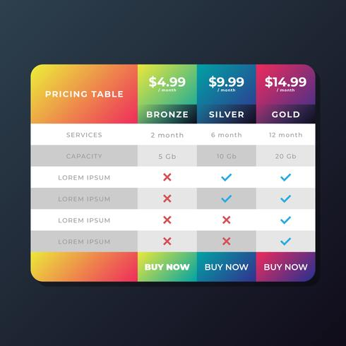 Pricing Table Templates vector