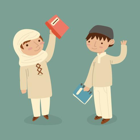 Muslim Kids Going to School vector